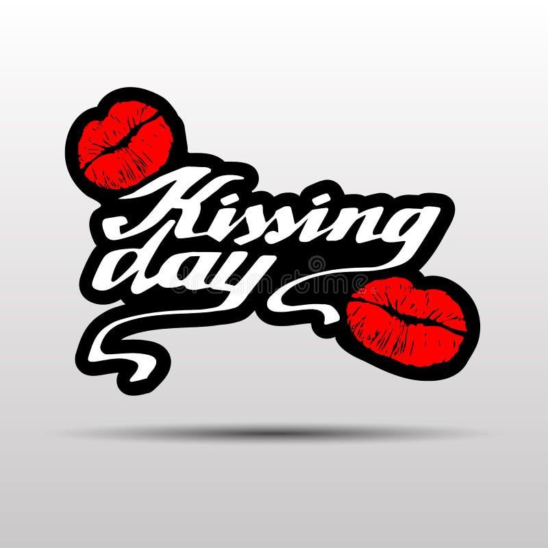 Beijando o dia eu amo beijar a ilustração do amor do dia do vetor do Valentim do beijo ilustração royalty free