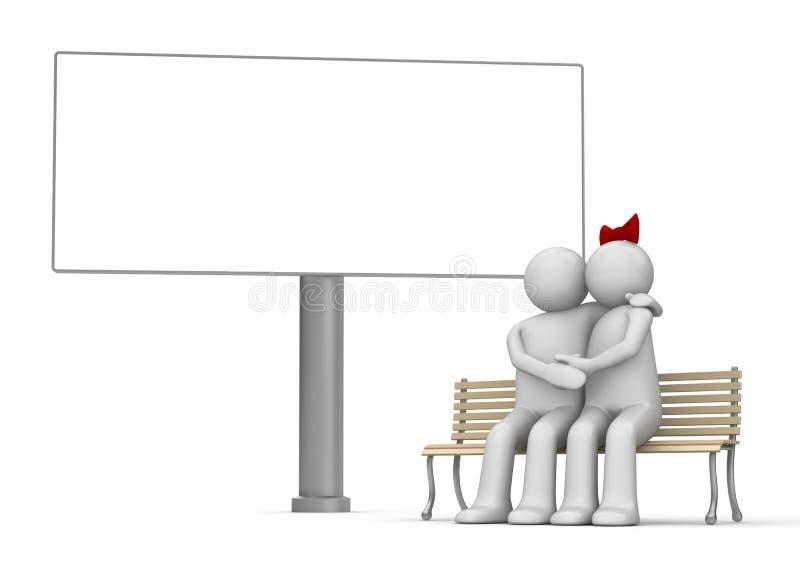 Beijando o homem e a mulher em um banco com copyspace ilustração stock