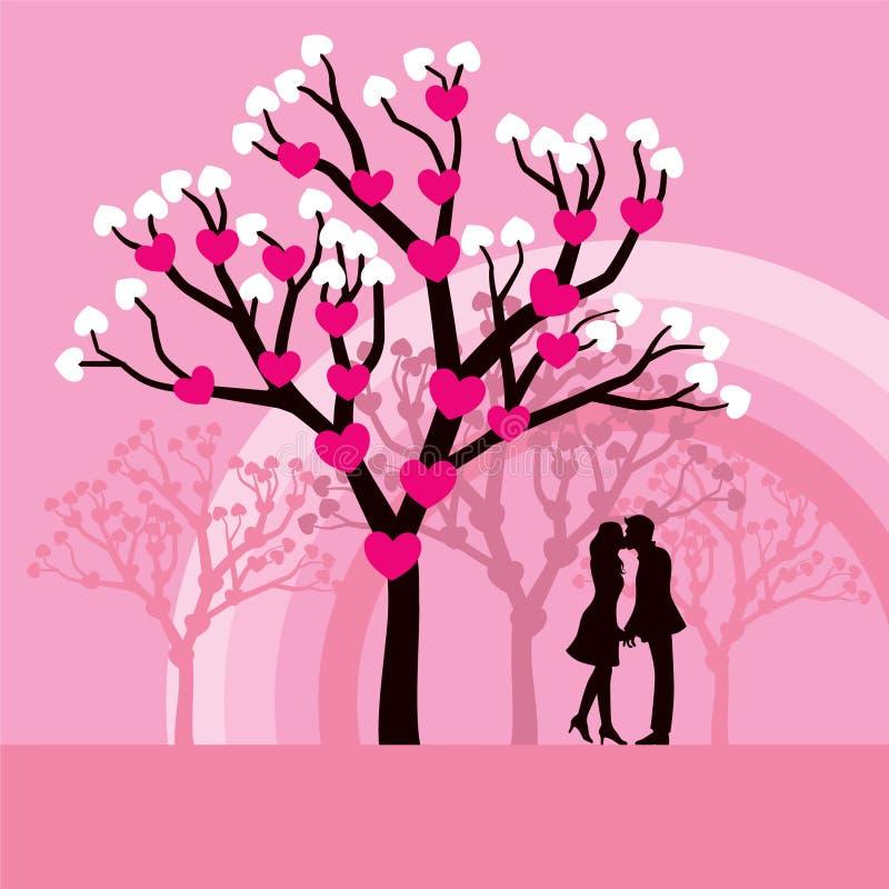 Beijando pares ilustração do vetor