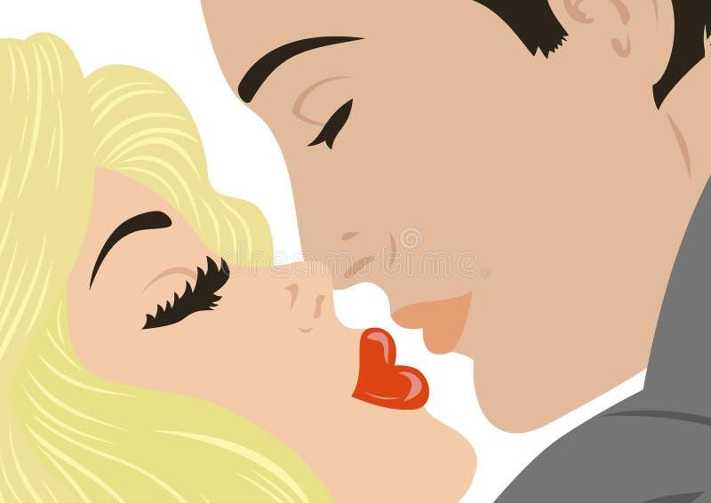 Beijando pares ilustração royalty free
