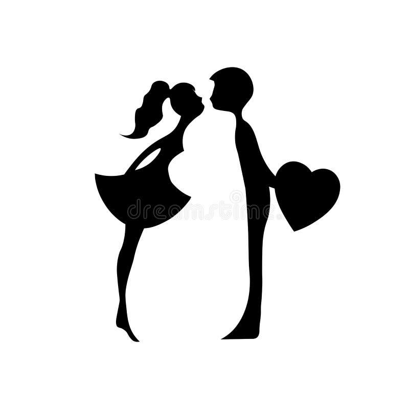 Beijando pares de amantes novos Silhueta romântica dos pares Amantes mulher e beijo do homem Silhuetas de beijar o menino e a men ilustração do vetor