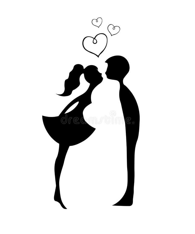 Beijando pares de amantes novos Silhueta romântica dos pares Amantes mulher e beijo do homem Silhuetas de beijar o menino e a men ilustração stock