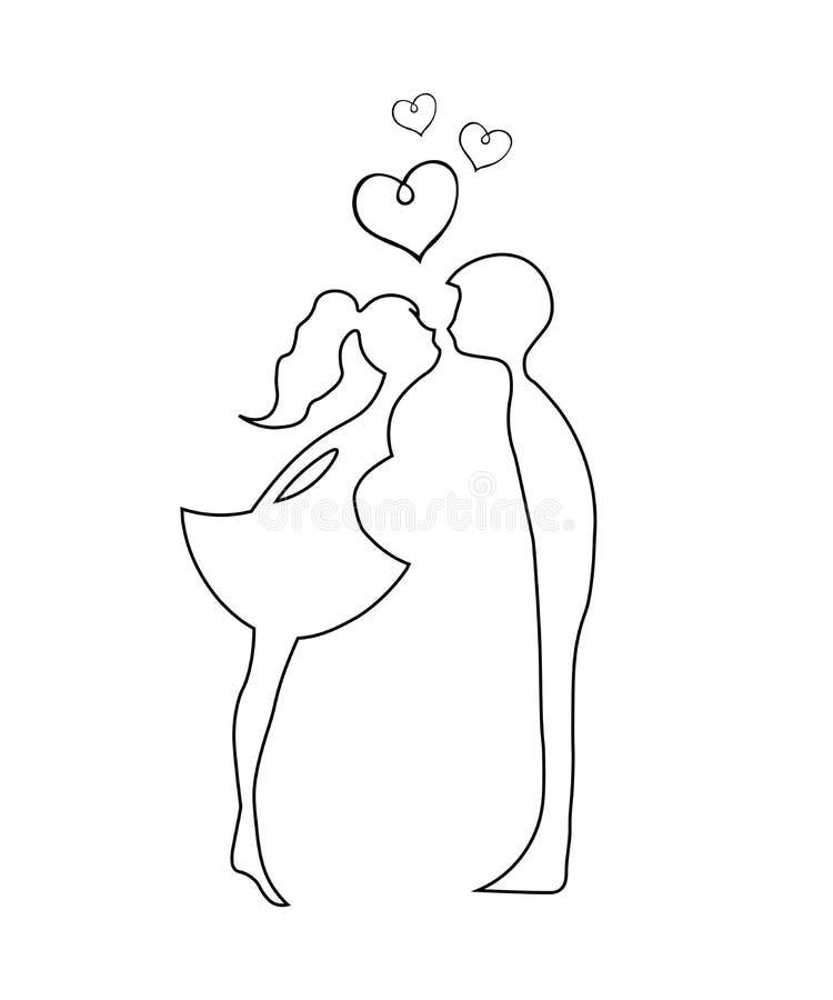Beijando pares de amantes novos Silhueta romântica dos pares Amantes mulher e beijo do homem silhuetas do contorno de beijar o me ilustração royalty free