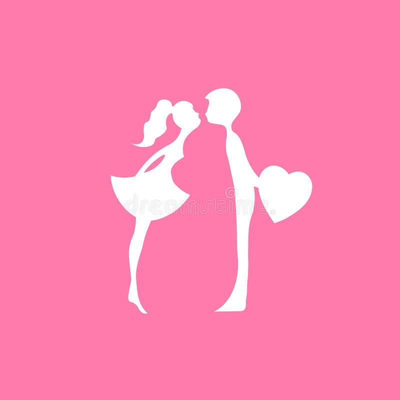 Beijando pares de amantes novos Silhueta romântica dos pares Amantes mulher e beijo do homem silhuetas cor-de-rosa de beijar o me ilustração stock