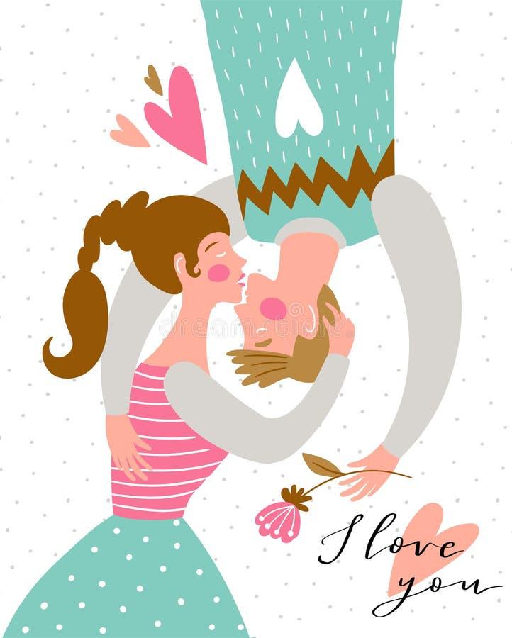 Beijando pares no fundo do às bolinhas Coração verde estilizado da ilustração do vetor Pares bonitos no amor Ilustração do vetor ilustração stock