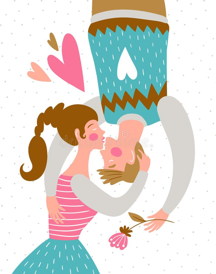 Beijando pares no fundo do às bolinhas Coração verde estilizado da ilustração do vetor Pares bonitos no amor Ilustração do vetor ilustração do vetor
