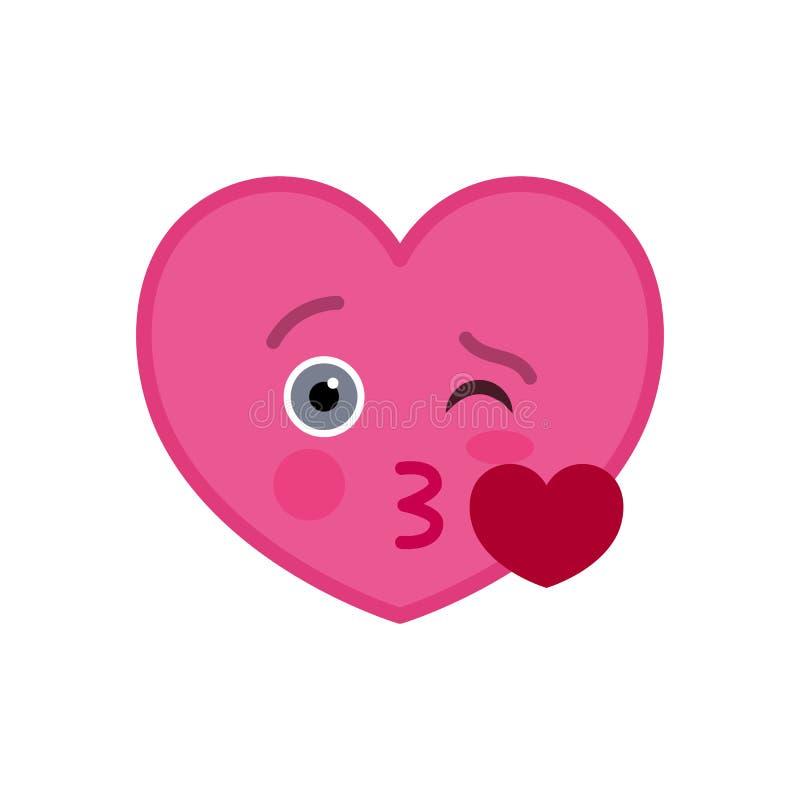 Beijar o coração deu forma ao ícone engraçado do emoticon ilustração royalty free