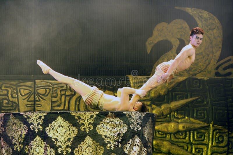 Beijing acrobats. Male acrobats at a Beijing circus stock image