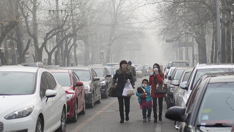 Beijing authorities boost the second smog alert red level. 25 dec 2015, Christmas Day,Beijing authorities boost the second smog alert red level.Air pollution is royalty free stock photo