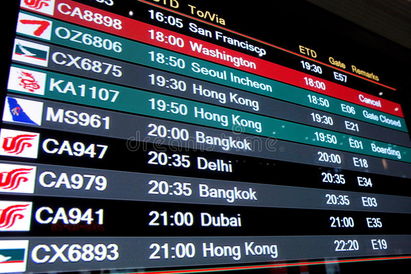 Beijing Capital International Airport departure board royalty free stock photography