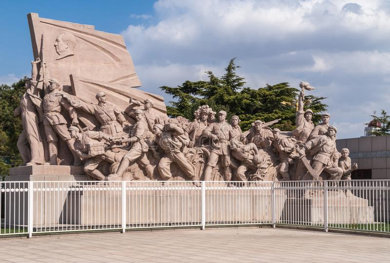 Memorial of the People`s heroes on Tiananmen Square. stock photos