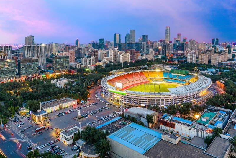 Beijing, China Cityscape. Beijing, China skyline and stadium royalty free stock photo