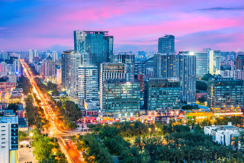 Beijing, China Cityscape. Beijing, China modern financial district skyline at dusk royalty free stock photography