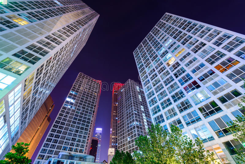 Beijing China Cityscape. Beijing, China modern office buildings royalty free stock images