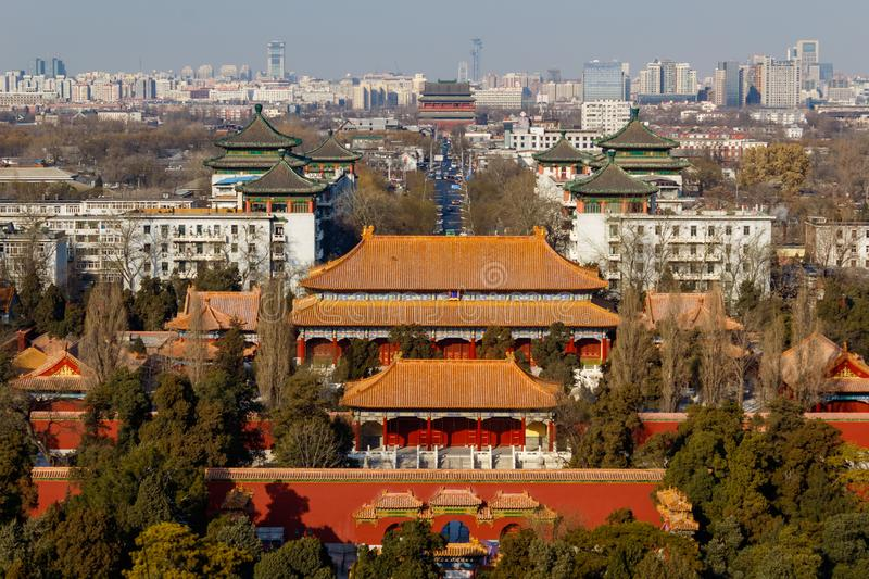 BEIJING, CHINA - DEC 23, 2017: Aerial view of Beijing cityscape from Jingshan hill with air pollution. BEIJING, CHINA - DEC 23, 2017: Aerial view of Beijing royalty free stock photo