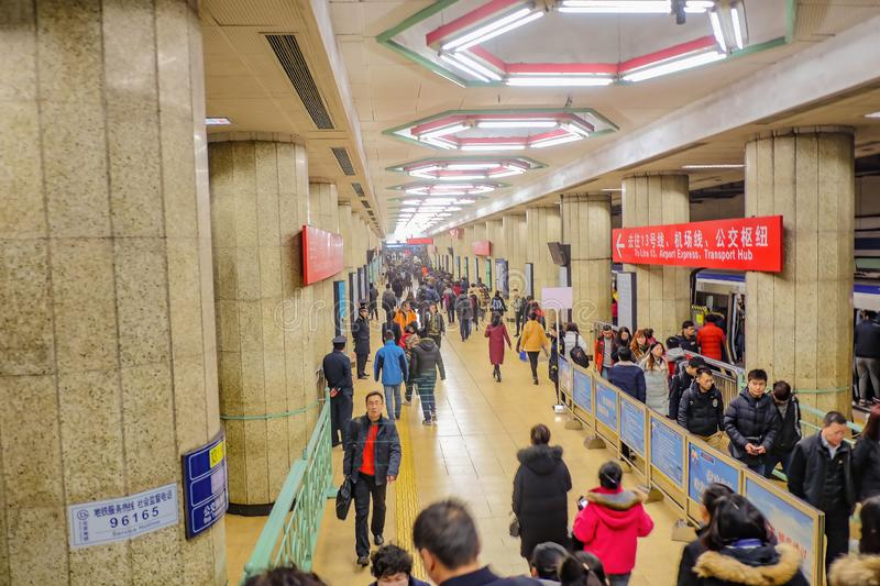 A lot of Unacquainted Chinese People or tourist walking and Use the metro service in Beijing Sunway. Beijing/China - 24 February 2017:A lot of Unacquainted stock image