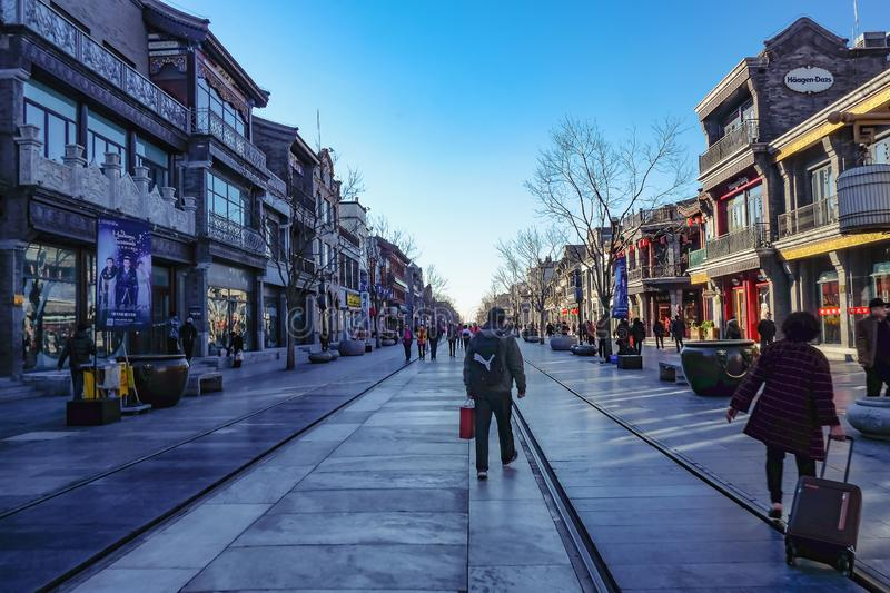 Unacquainted Chinese people or tourist walking in Qianmen street The famous in beijing Capital City of china royalty free stock photo