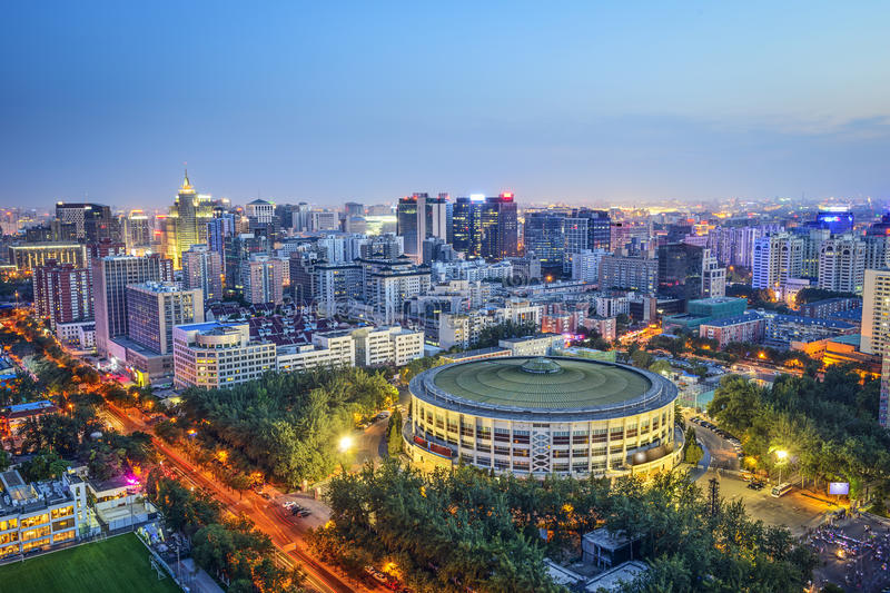 Beijing, China Financial District. Beijing, China cityscape over Workers Indoor Arena stock images