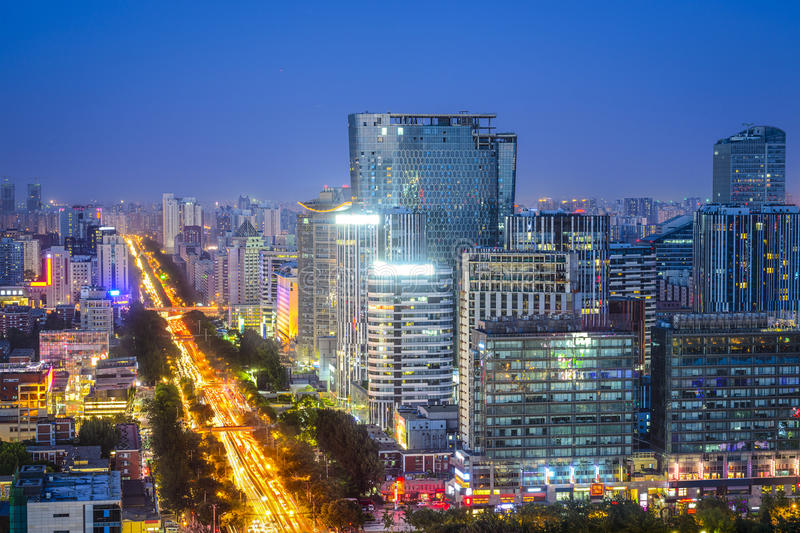 Beijing, China Financial District. Beijing, China downtown cityscape at night stock photos