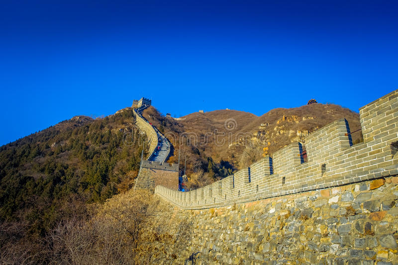 BEIJING, CHINA - 29 JANUARY, 2017: Fantastic view of impressive great wall on a beautiful sunny day, located at Juyong royalty free stock photo