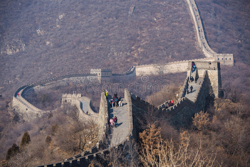 Beijing, China - January 2017: Great Wall at Mutianyu People are climbing the Great Wall. Located in Beijing, China. royalty free stock photo