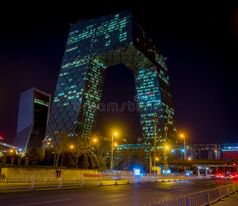 BEIJING, CHINA - 29 JANUARY, 2017: The new CCTV building of the city, spectacular modern design and construction royalty free stock photo