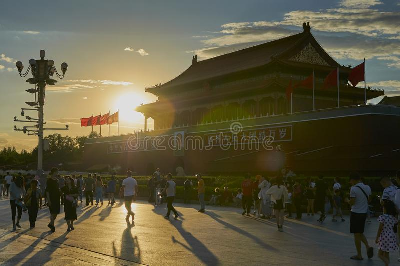 Beijing, China - June 2019: Forbidden city, Tiananmen square royalty free stock images