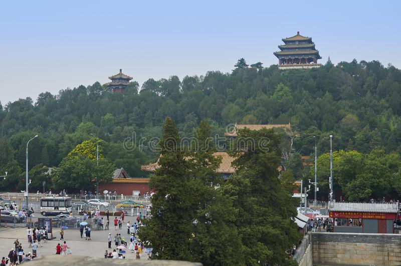 Beijing, China - June 2019: Jingshan park view from the forbidden city stock photo