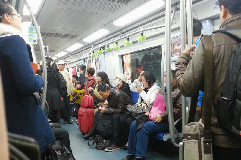 Subway carriage in beijing royalty free stock image