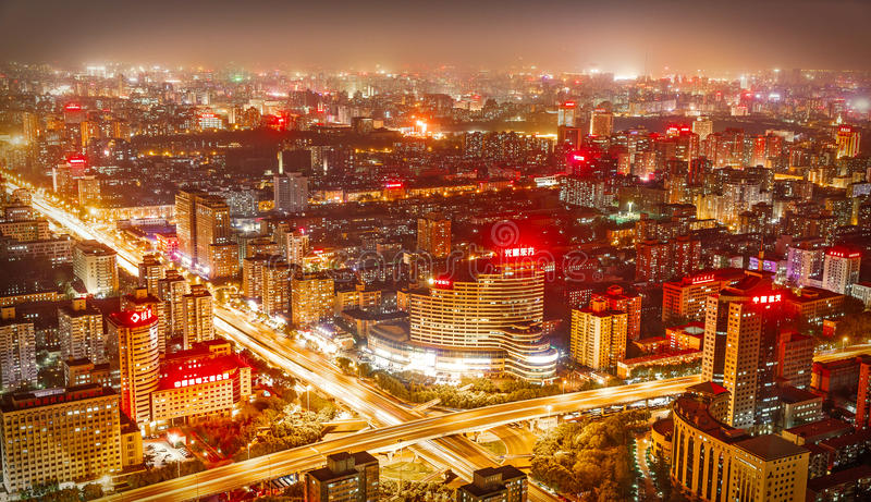 Beijing, China - May 2016. city at nighttime when the tall skyscrapers are illuminated stock photography