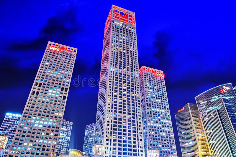 BEIJING, CHINA - MAY 20, 2015:Evening, night modern Beijing business quarter of the capital, the streets of the city with royalty free stock photography