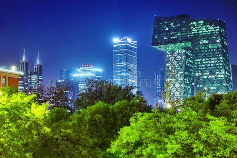 BEIJING, CHINA - MAY 20, 2015:Evening, night modern Beijing busi royalty free stock photography