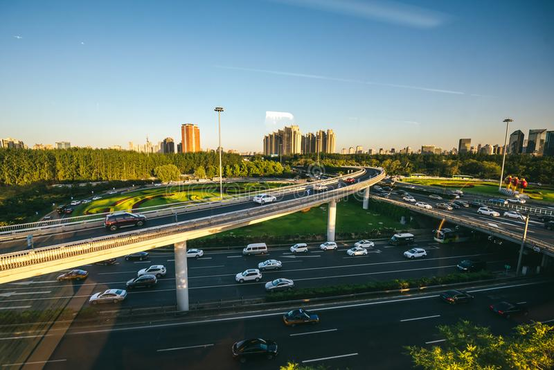 View from Beijing Airport Express Train royalty free stock photography