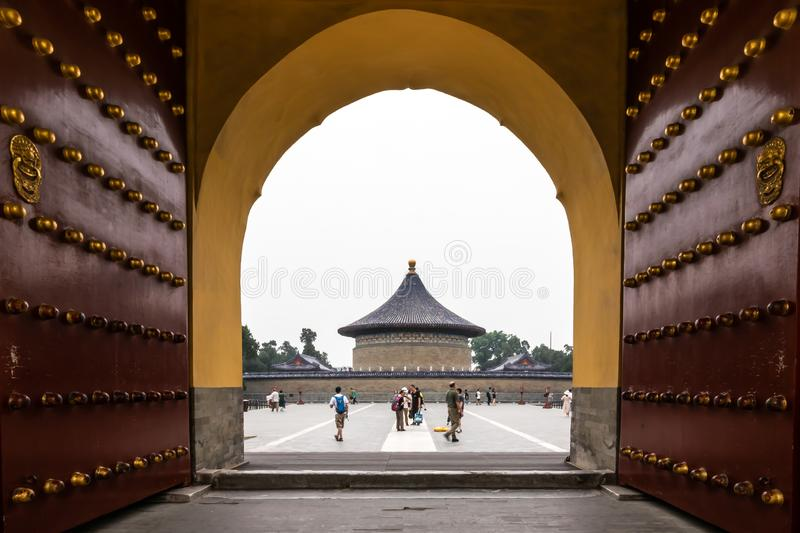 Beijing, China - May 26, 2018: The iconic hot-spot view of traveler walking to sea around Imperial Vault of Heaven. Huangqiongyu at The Temple of Heaven in royalty free stock images