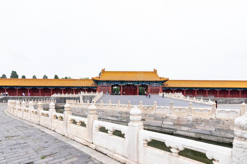 Beijing, China - May 20, 2018: The iconic hot-spots view of people traveling at Forbidden city. Which is a palace complex in central Beijing, China stock image