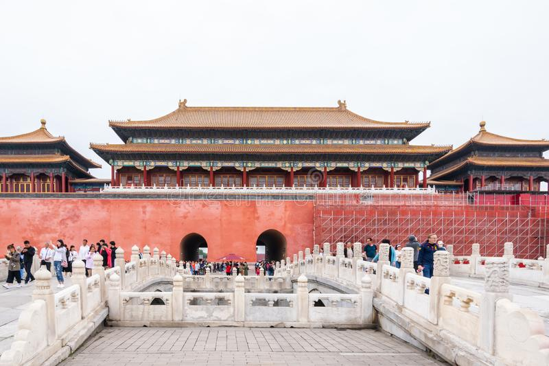 Beijing, China - May 20, 2018: The iconic hot-spots view of people traveling at Forbidden city which is a palace complex. In central Beijing, China royalty free stock photography