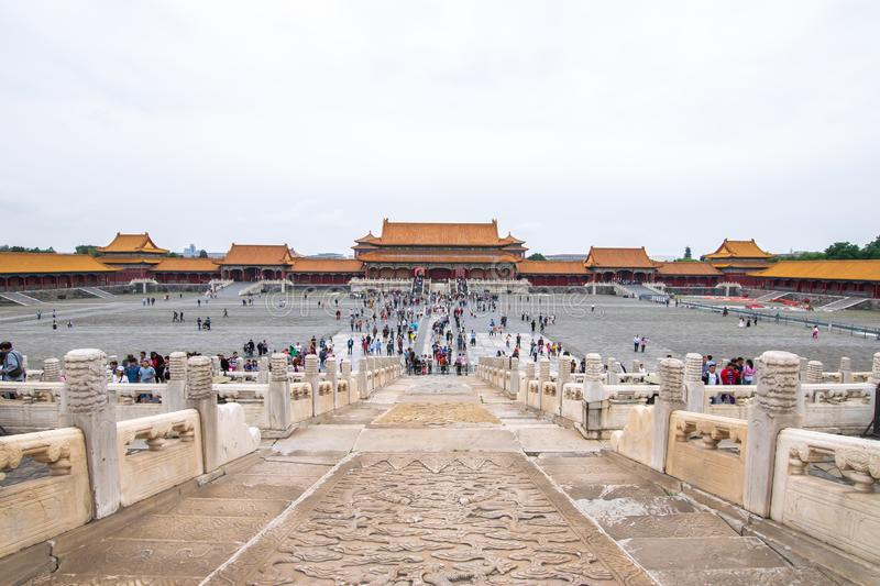 Beijing, China - May 20, 2018: The iconic hot-spots view of people traveling at Forbidden city which is a palace complex. In central Beijing, China stock image
