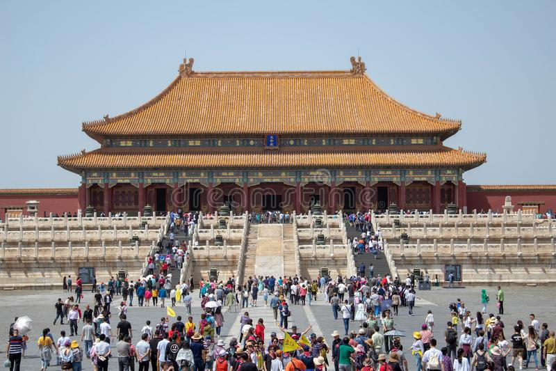 Tourists going into The Forbidden City. royalty free stock image