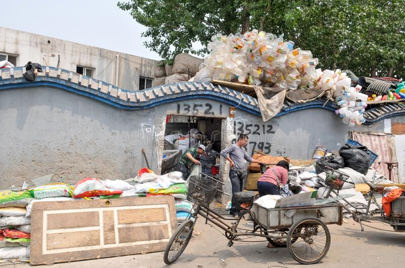 Recyclable materials street market in China stock photo