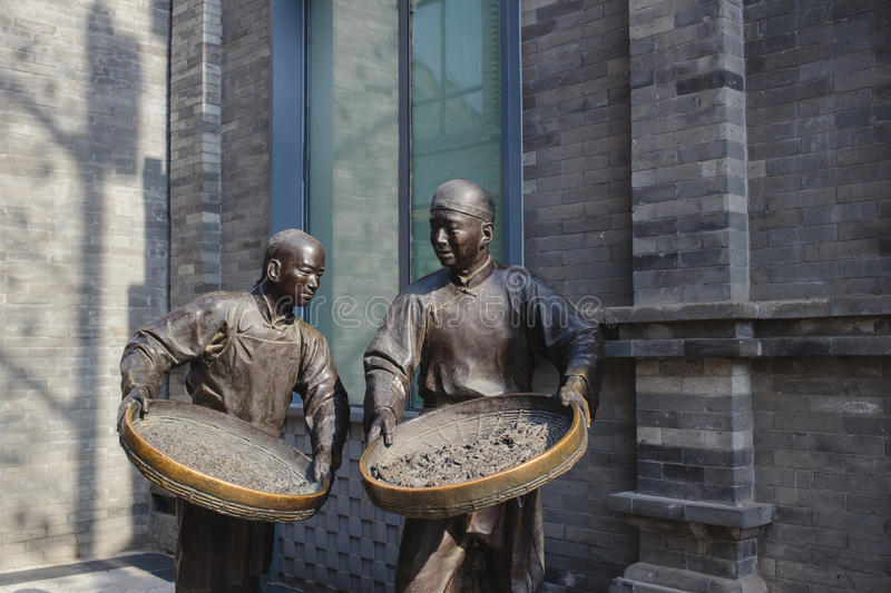 Beijing, China - May 19, 2016: sculptures on Qianmen street. In Beijing, China royalty free stock images