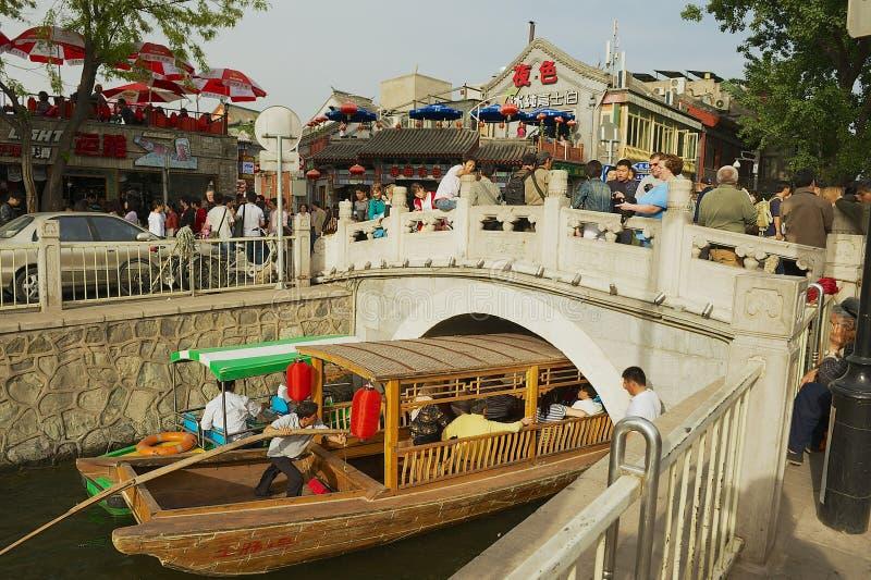 People visit Houhai lake area in Beijing, China. royalty free stock photography