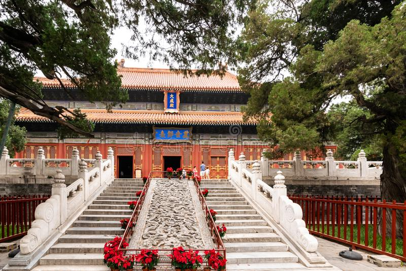 Beijing, China - May 26, 2018: View of the building and  garden park at Confucius Temple and The Imperial College Museum in royalty free stock photo