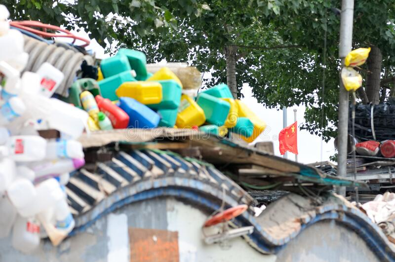 Recyclable materials street market in China stock photos