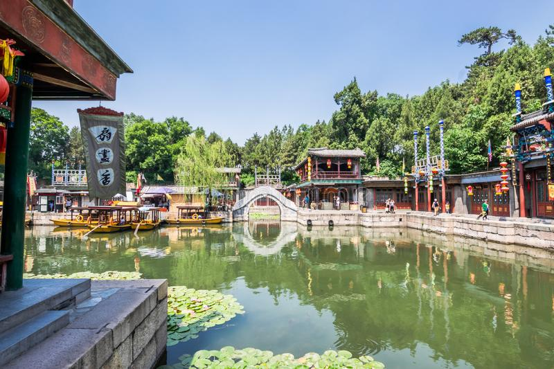 Beijing, China - May 25, 2018: View of Summer Palace, an Imperial Garden, where integrates numerous traditional halls stock photography