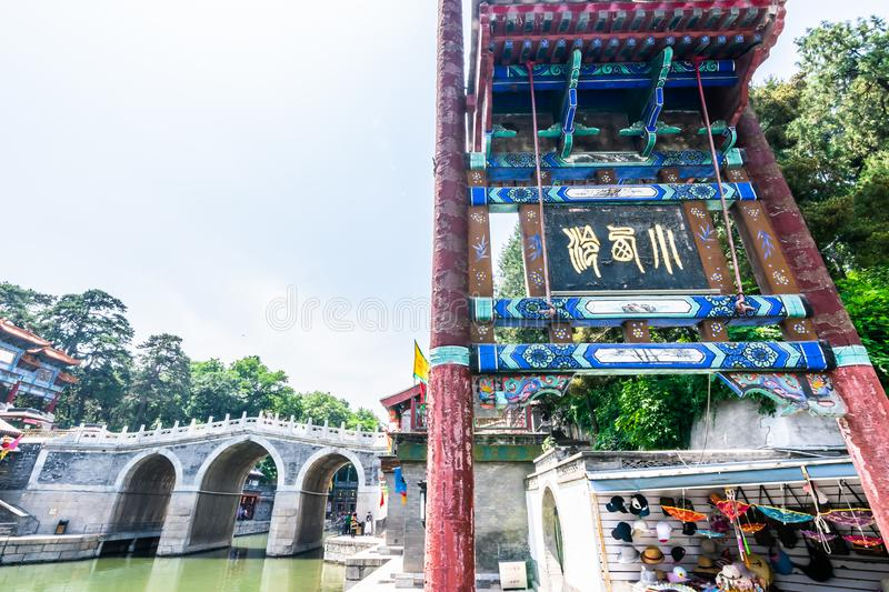 Beijing, China - May 25, 2018: View of Summer Palace, an Imperial Garden, where integrates numerous traditional halls and. Pavilions into the Imperial Garden royalty free stock photo