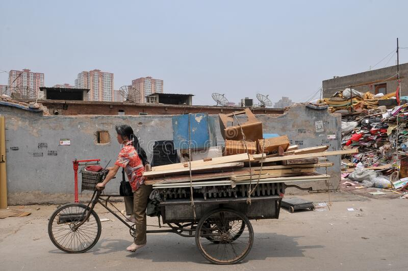 Recyclable materials street market in China royalty free stock photography