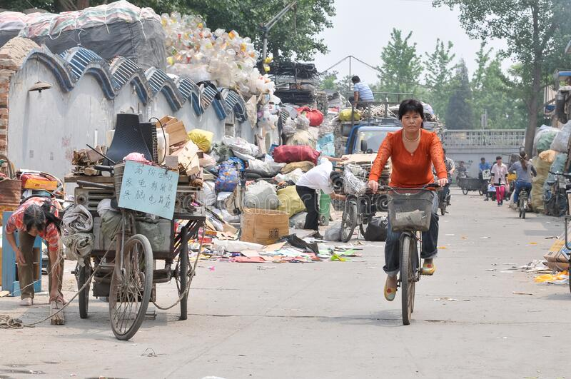 Recyclable materials street market in China stock photography