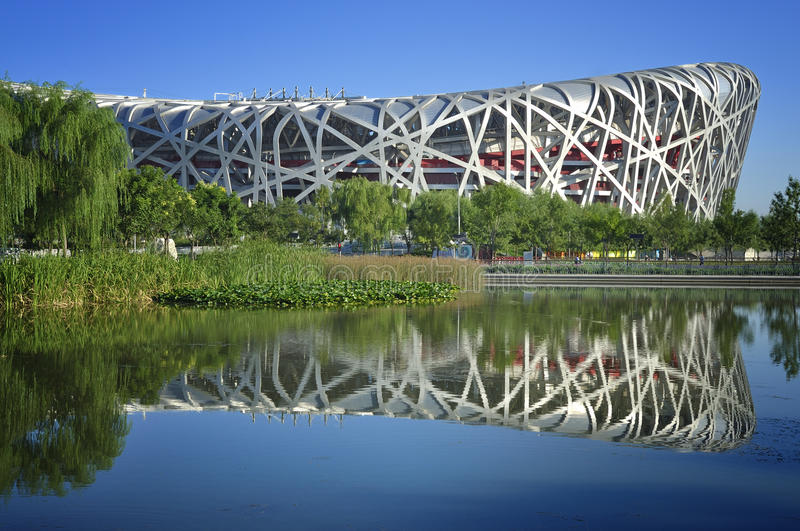 Beijing China National Stadium Bird Nest. China National Stadium in Beijing.It has been used in the Olympic Games.It is built by the steel,it was called Bird stock photos