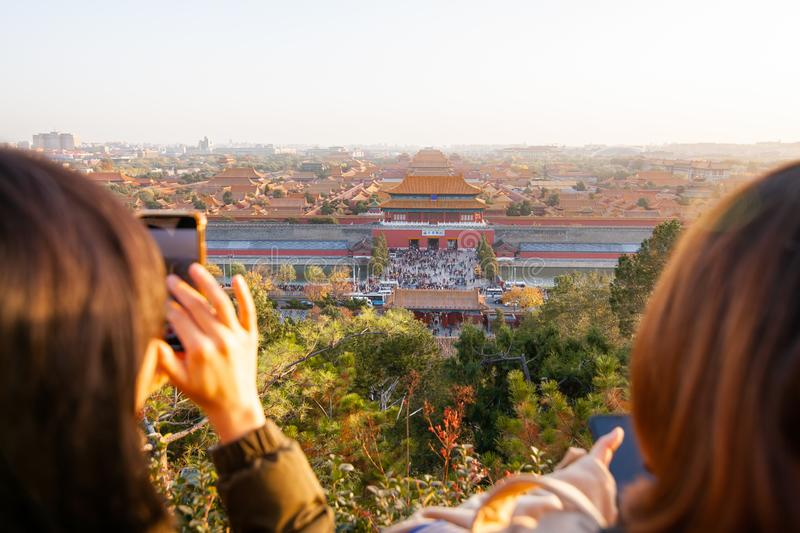 Beijing, China - November 10, 2019: View to Forbidden City from Jingshan Park royalty free stock images