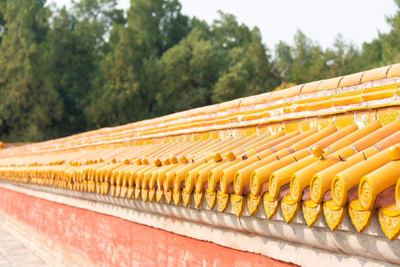 BEIJING, CHINA - Oct 18 2015: Roof at Temple of Earth (Ditan). a. Famous historic site in Beijing, China royalty free stock images